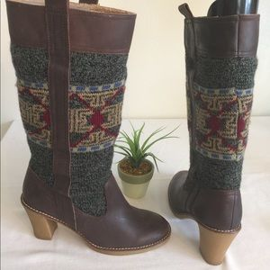 Naughty Monkey Leather /fabric knee boots size 8.5
